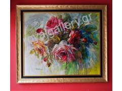 PETALIDOU  ''ROSES II''WITH FRAME 125X145 CALL US FOR THE PRICE